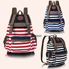 New Fashion Women Girls Backpack Canvas Stripe Leisure Bags School Bag 3 WT8803