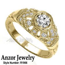 14k Solid Yellow Gold Genuine Diamond Anniversary Russian Style Ring #R1906