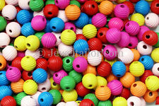 100-500 MIXED LARGE HOLE CHILDRENS WOODEN RIBBED BEEHIVE BEADS 14mm KIDS CRAFTS