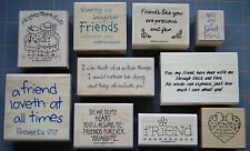 FRIEND & FRIENDSHIP THEME RUBBER STAMPS ~  YOU CHOOSE ~ NICE SAYINGS & DESIGNS