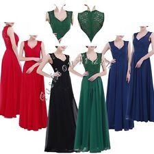 Fashion Womens Sexy V Neck Lace Long Wedding Bridesmaid Evening Party Dress 4-16