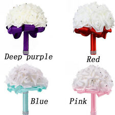 Crystal Wedding Bridal Artificial Rose Flower Bouquets Bridesmaid