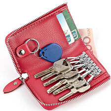 New Women Real Genuine Leather Wallet Small Car Key Chain Holder Bag Purse