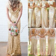 Bridal Mermaid Gold Sequin Bridesmaid Stretchy Backless Wedding Party Gown Dress
