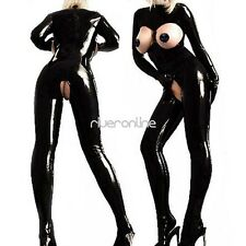 Sexy Latex Catsuit Open Bust Bodysuit Catsuit Women Open Crotch Costume Jumpsuit