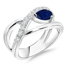 Pear Shaped Sapphire Ring with Diamond Accents 14K White Gold Size 3-13