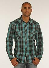 Rock and Roll Cowboy Men's Turquoise & Black Long Sleeve Western Shirt B2S2064