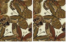 BUTTERFLY FABRIC, METALLIC GOLD AND BROWN BUTTERFLIES 100% COTTON FABRIC FABRIC