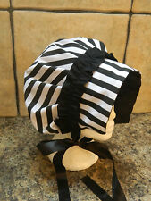 GIRLS/LADIES, BLACK AND WHITE STRIPED, JANE AUSTEN, VICTORIAN STYLE BONNET