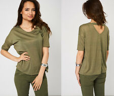 Khaki Green Deep V Back Ladies Casual Top T-Shirt Tee Short Sleeves Round Neck