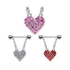 Nipple bar with dangling pave jeweled heart