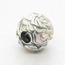 Authentic Genuine S925 Sterling Silver Rose Garden Pink Enamel Clip Charm