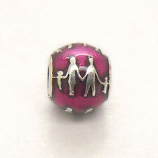 Authentic Genuine S925 Sterling Silver Family Bonds Fuschia Enamel Charm