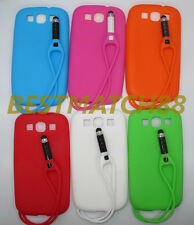 for Samsung galaxy s3 i9300 soft case attached stylus pen 6 colors \
