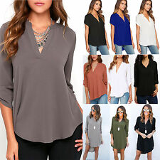 Plus Size Womens V Neck Chiffon Tops Loose Casual Summer T Shirts Blouse AU 6-18