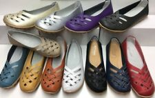 WOMENS Comfort Soft LEATHER FLATS Ballet Walk SHOES Work Sz 6 7 8 9 10 11