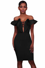 Women's Fashion Mini Dresses Off Shoulder Ruffle Strappy Bodycon Party Dress