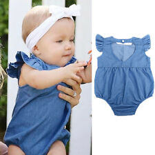 Vintage Girls Petti Ruffled Romper Denim baby Girl & Girls Outfit Set Jumpsuit