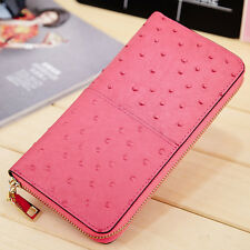 Women Genuine Leather Wallets Ostrich Pattern Female Leather Coin Purse Long