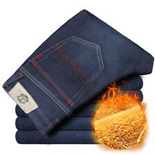 Mens Winter Thicken Stretch Denim Jeans Warm Fleece Jean Pants Trousers Size 32