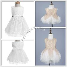 Flower Lace GirlS Kids Embroidered Wedding Party Christening Baptism Tutu Dress