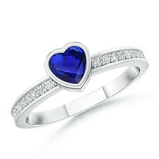 Bezel Heart Tanzanite Promise Ring with Diamond Accents 14k White Gold Size 3-13