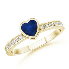 Bezel Heart Sapphire Promise Ring with Diamond Accents 14k Yellow Gold Size 3-13