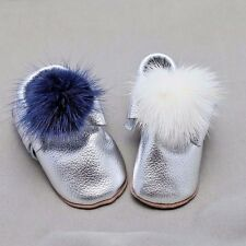 Fur Pom Pom Moccasins Infant Baby Boy Toddlers Silver Soft Genuine Leather Shoes