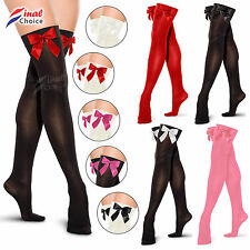 Ladies Womens Hold Up Thigh High Stockings With Bow Fancy Dress Party Costume »