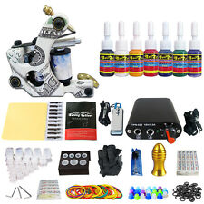 Rotary Machine Gun Tattoo Kit Power Supply Needle Grips tip 7 color ink set