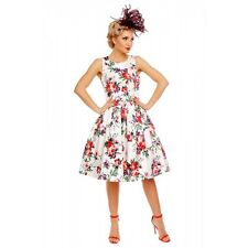 Dolly And Dotty - Annie Retro Roses Floral Swing Dress in White. Vintage Dress