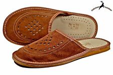Mens Genuine Luxury Handmade Suede Brown Leather Scuffs Slippers Sandal Shoes