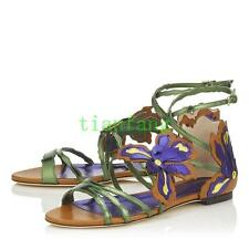 2017 Ladies Flats Sandals Open Toe Flower Ankle Strap Casual Roma Shoes Chic New