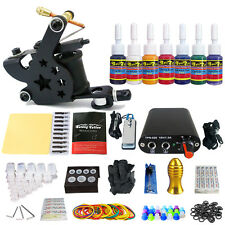 Machine Gun Tattoo Kit Rotary Power Supply Needle Grips tip 7 color ink set