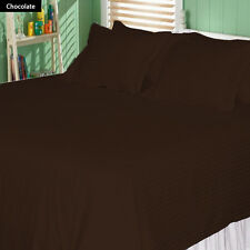 1200 TC Soft Egyptian Cotton Complete Bedding Items All UK Size ChocolateStriped