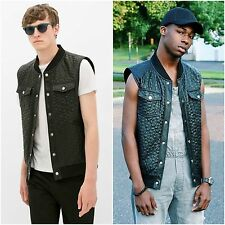 ZARA Man BNWT Authentic Black Quilted Faux Leather Gilet RRP GBP 49.99 0706/315