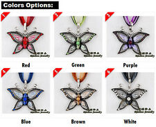 Enamel Butterfly Pendant with Crystals on Ribbon and Cord Necklace Ladies Gift