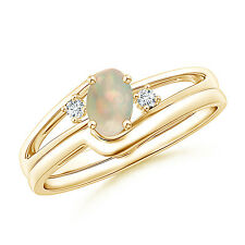 Natural Opal Engagement Ring with Plain Wedding Band Set in 14k Yellow Gold