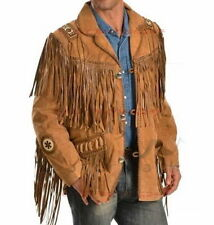 New Mens brown Suede Western Cowboy Style Leather Jacket With  Bones and Beads