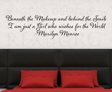 Wall Decal Sticker Quote Vinyl Lettering Beneath the Makeup Marilyn Monroe J63