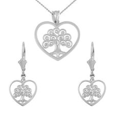 Sterling Silver Tree of Life Open Heart Filigree Necklace & Matching Earring Set