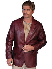 Scully Leather Mens Black Cherry Lambskin Button Front Western Blazer