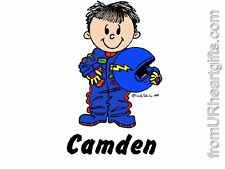 PERSONALIZED CUSTOM KIDS CARTOON PRINT - FUTURE RACE CAR DRIVER - GREAT GIFT!
