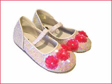 NWT COASTAL PROJECTIONS WHITE & PINK SEQUIN FLOWER GIRLS SHOES 2 3 4 5 6 7 INF