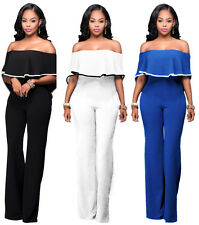 Womens Sexy Off Shoulder High Waisted Long Wide Leg Jumpsuits Rompers