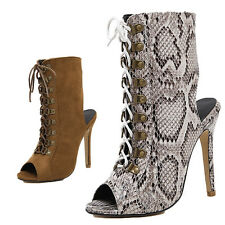 New Women Peep Toes Shoes High Heel Pumps Lace Up Ankle Boots Sandals Shoes Size