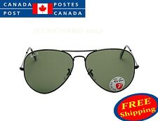 NEW Ray Ban RB 3025 Aviator Metal 002/58 Black/Green Polarized 58&62 Sunglasses