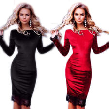 Long Sleeve Lace Sexy Party Dresses Women Slim Sheath Fashion Hot Velvet
