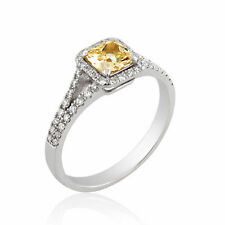 Engagement Ring Size 6 Natural Diamond 0.87 CT Fancy Color VVS2 14K White Gold