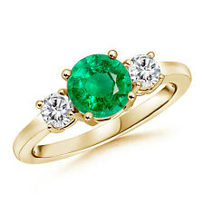 Classic Prong-Set Emerald and Diamond Three Stone Ring In 14k Yellow Gold